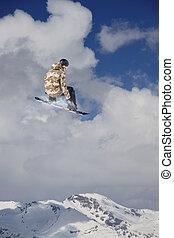 springen, sport., berge., snowboard, extrem