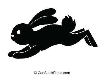 springen, symbol, kanninchen