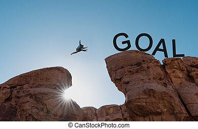 springende , abgrund, concepts., aus, herausforderung, risiko, mann, ziele, leistung, erfolg, silhouette