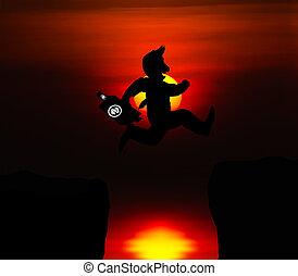springende , abgrund, geschaeftswelt, aus, begriff, mann, karikatur