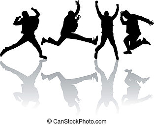 springende , arbeit, vektor, mann
