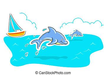 springende , delfin