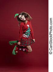 springende , frau, in, weihnachten, kleidung