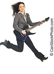 springende , geschäftsführung, frau, mit, gitarre