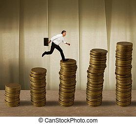 springende , geschäftsmann, auf, geld