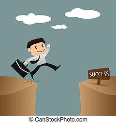 springende , geschäftsmann, aus, risiko, concept., erfolg, gap.