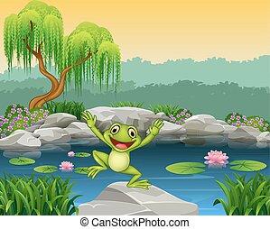 springende , karikatur, glücklich, frosch