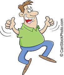 springende , karikatur, mann
