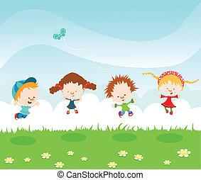 springende , kinder