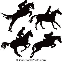 springende , pferden, mit, mitfahrer