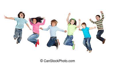 springende , sechs, lustiges, kinder