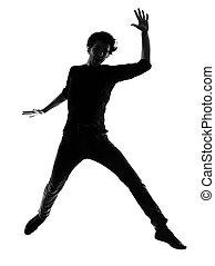 springende , silhouette, junger mann, glücklich