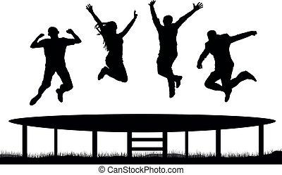 springende , silhouette, trampolin, leute