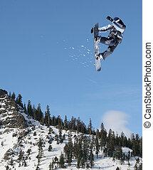springende , snowboarder