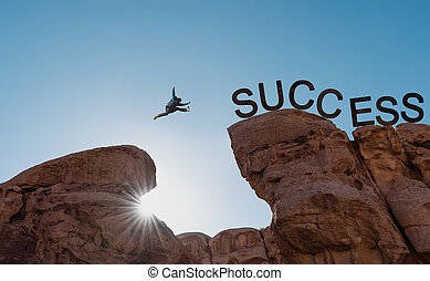 springende , success., abgrund, geschaeftswelt, aus, herausforderung, mann, leistung, führung, erfolg, begriff, silhouette