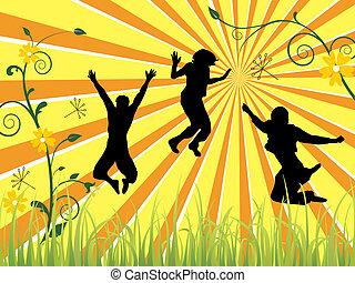 springende , teenager