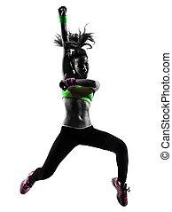 springende , trainieren, silhouette, tanzen, frau, fitness, zumba