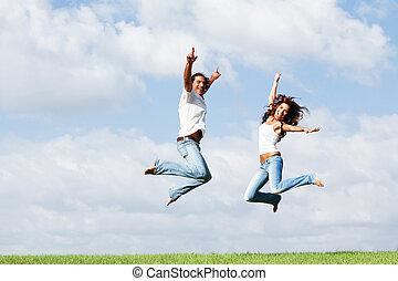 springende , von, freude