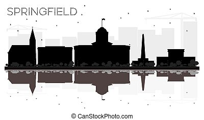 Springfield Illinois City skyline black and white silhouette with Reflections. Vector illustration. Business travel concept. Cityscape with landmarks