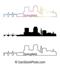 Springfield MA skyline linear style with rainbow -...