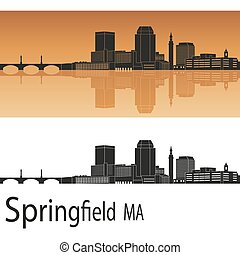 Springfield MA skyline - Springfield skyline in orange...