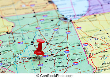 Springfield pinned on a map of USA - Photo of pinned...