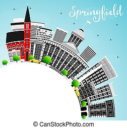 Springfield Skyline with Gray Buildings, Blue Sky and Copy Space.