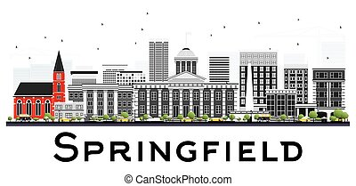 Springfield Skyline with Gray Buildings Isolated on White Background.