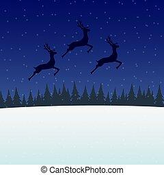 springt, achtergrond, rendier, tegen, maan