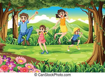 springt, bos, gezin