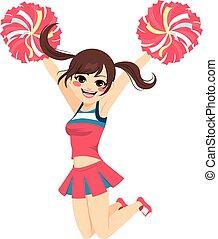 springt, cheerleader, meisje