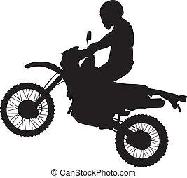 springt, dirtbike, silhouette