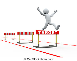 springt, doel, man, hindernissen, 3d, hardloop wedstrijd