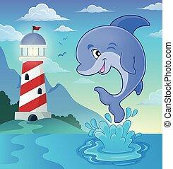 springt, dolfijn, thema, beeld, 3