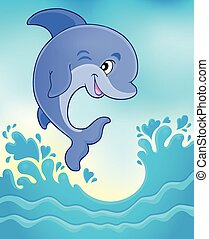 springt, dolfijn, thema, beeld, 6