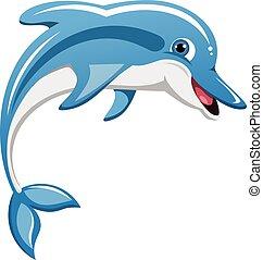 springt, dolfijn, vrijstaand