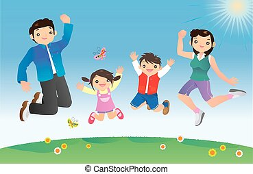 springt, gezin