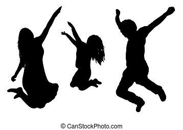 springt, gezin, silhouette