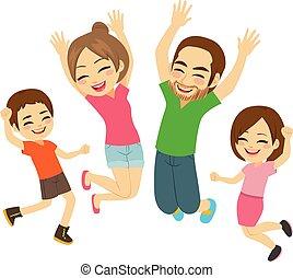 springt, gezin, vrolijke