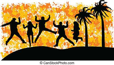 springt, groep, mensen