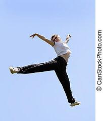 springt, hoog