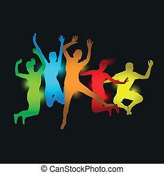 springt, kleurrijke, mensen