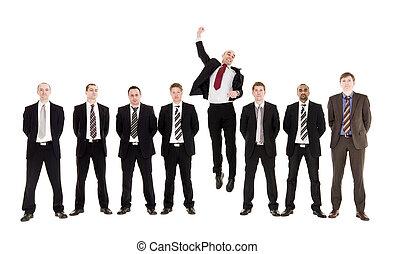 springt, man, in een rij, met, anderen, mannen