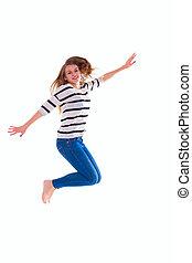 springt, meisje, t-shirt, leeg, witte , het glimlachen