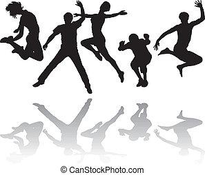springt, mensen