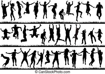 springt, mensen, kinderen, jonge