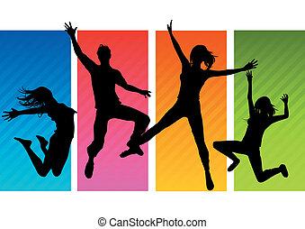 springt, mensen, silhouettes