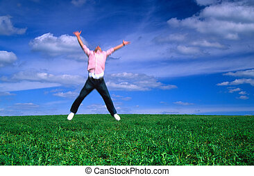 springt, met, vreugde
