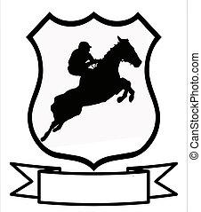 springt, of, tonen, sportende, het snelen, paarde, schild
