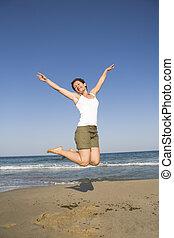 springt, op het strand